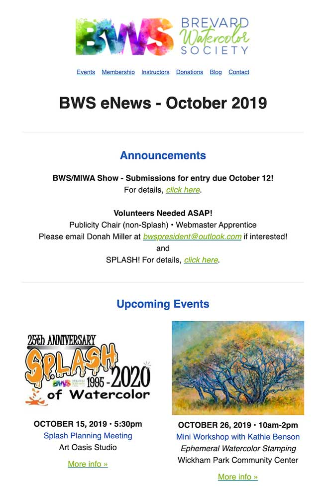 Brevard Watercolor Society eNewsletter October 2019